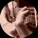 gitaar G akkoord zijaanzicht