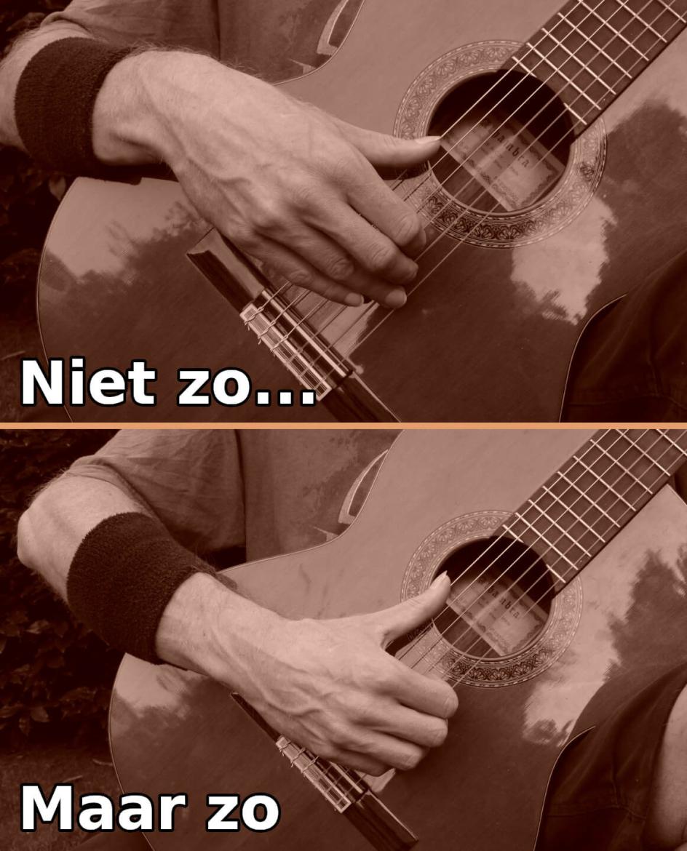 gitaar houding fout: met een te hoge hand spelen