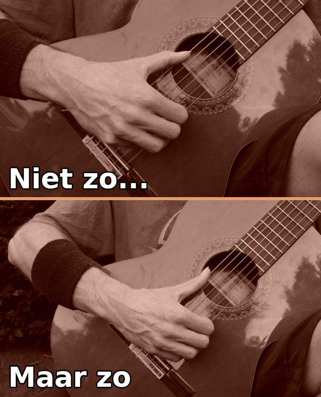 gitaar houding fout: met gebogen duim spelen