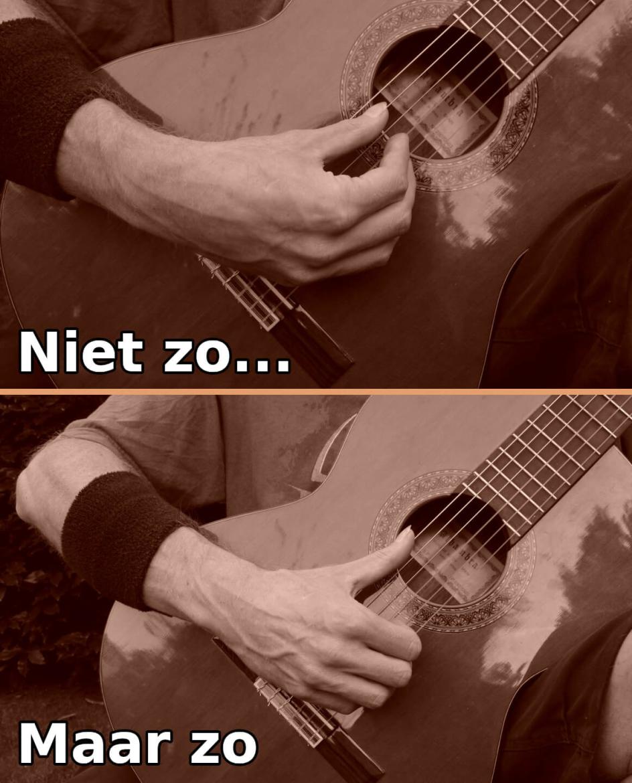 gitaar houding fout: met je duim naar je vingers spelen