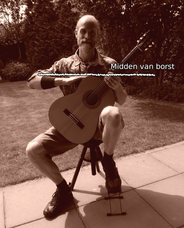 gitaarhouding hoogte van kast op het midden van je borst