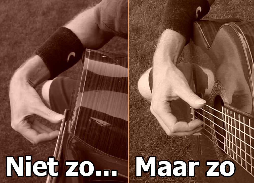 gitaar houding van rechterhand inwaartse hoek