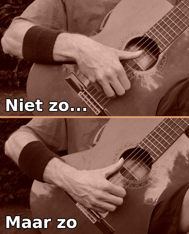 gitaar houding van rechterhand zijwaartse hoek