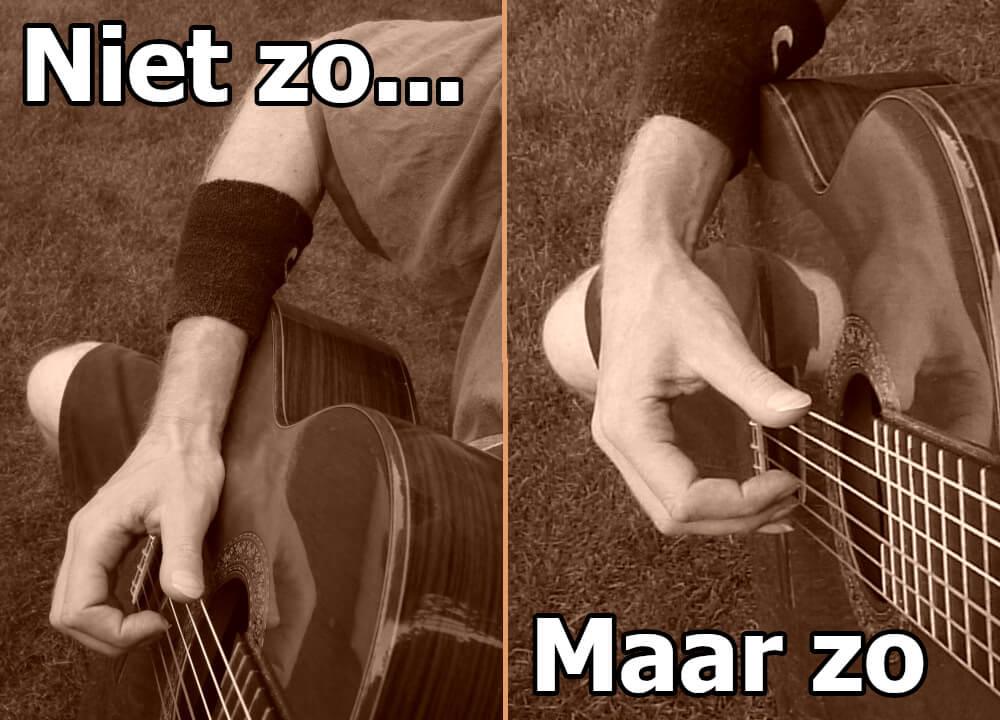 gitaar houding rechterhand van de kast af houden