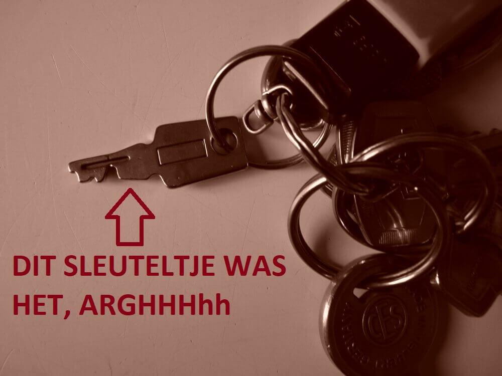 sleutel van gitaarkoffer vergeten