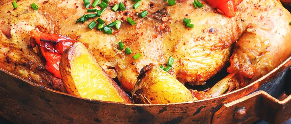 Receptuur: Heerlijk een pan gerecht met geroosterde kip en groenten