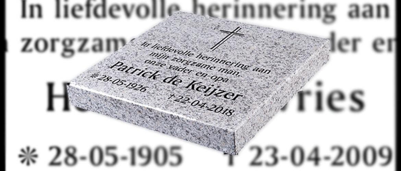 Welke gegevens horen er op een grafsteen?