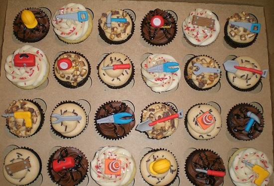 cupcakes thema bouwvakkers