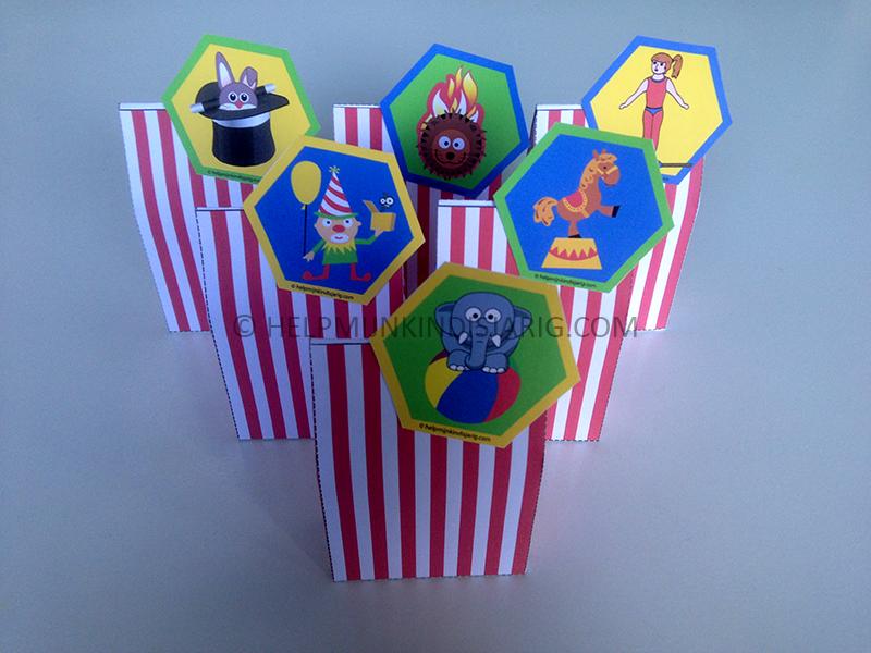 gratis printable: circus traktatiedoosjes