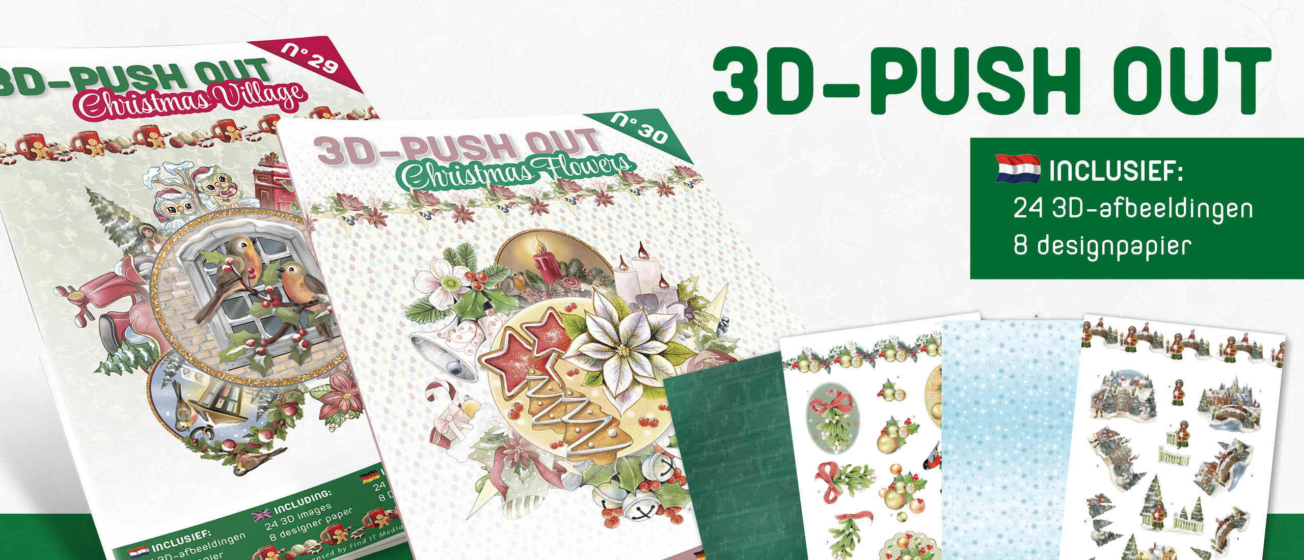3D Push Out book 29-30 Christmas Village and Christmas Flowers