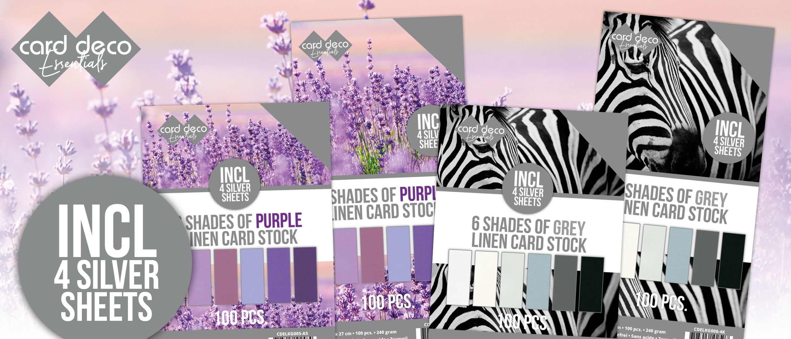 6 Shades of Grey and Purple Linen Card Stock