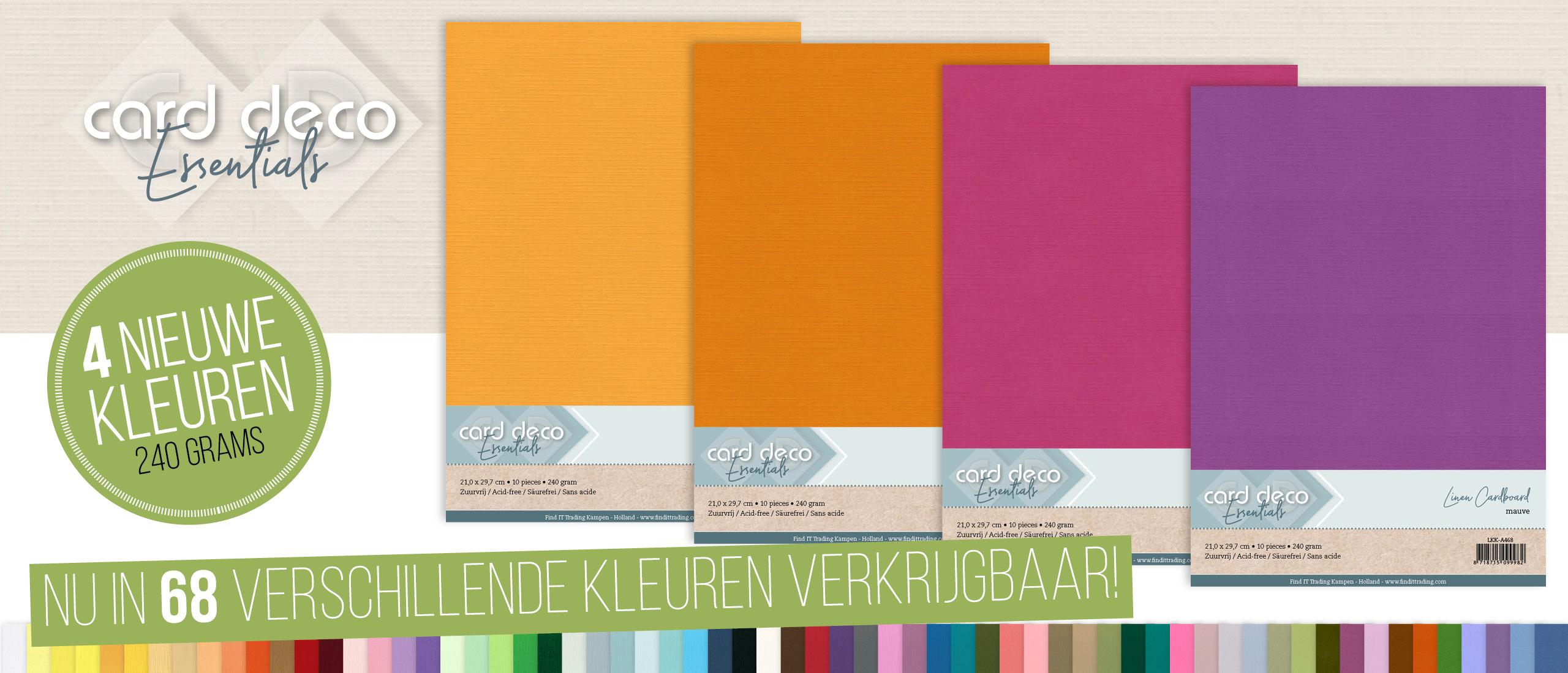 Nieuwe kleuren Linen Cardstock: Apricot, Tangerine, Magenta en Mauve.