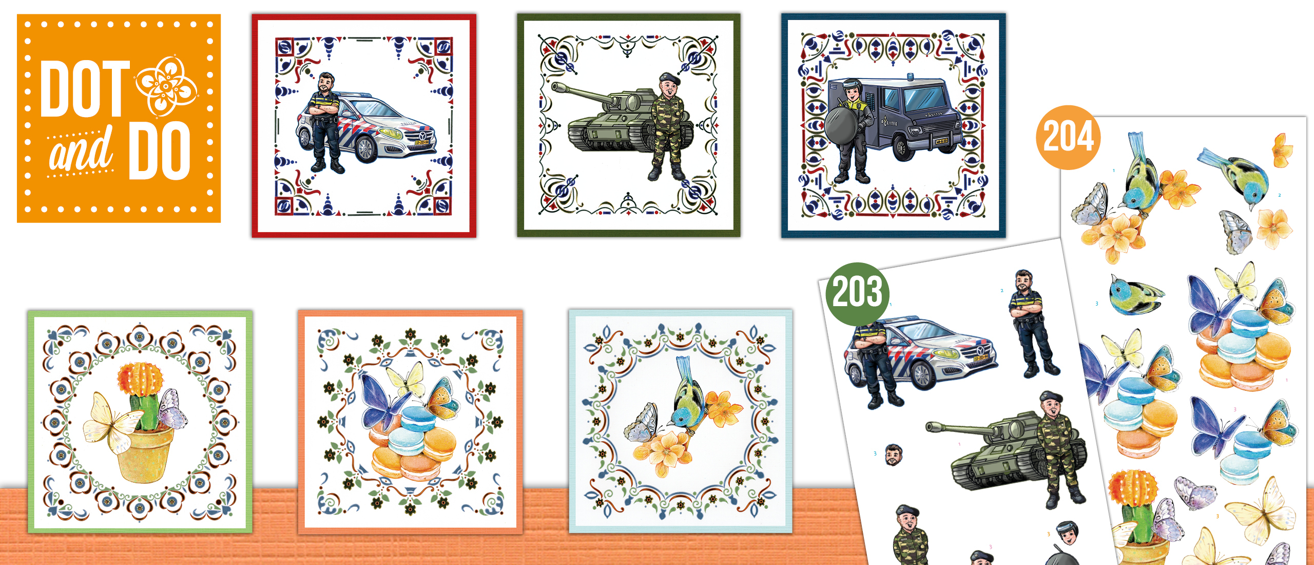 Dot and Do Set nr. 203 & 204 Professions Big Guys  & Butterfly Touch