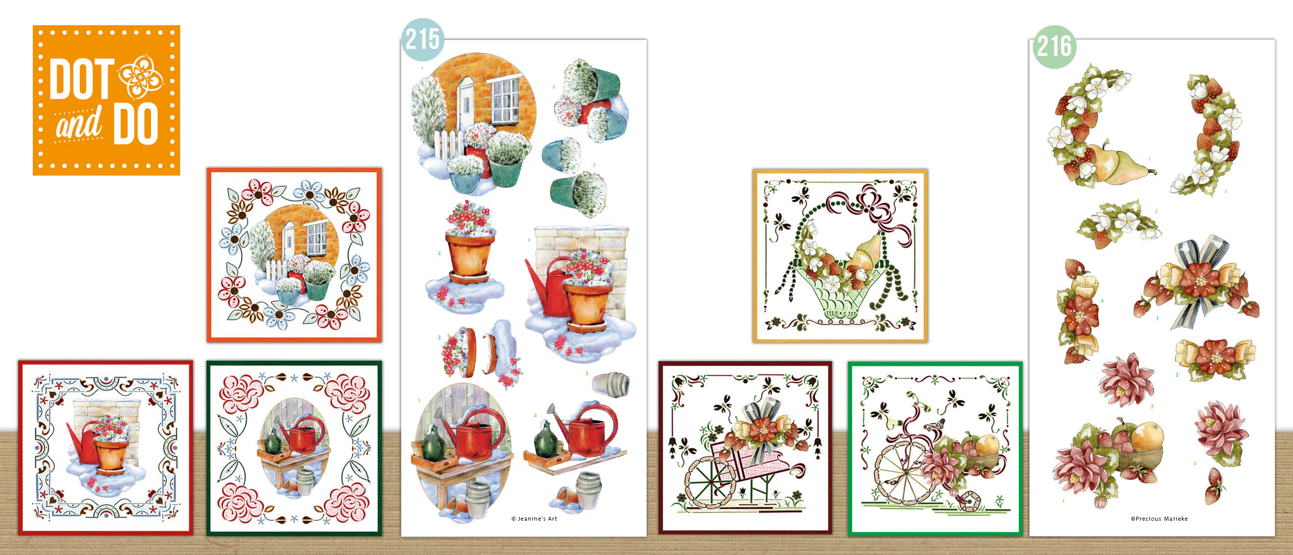 Dot and Do 215-216 - Jeanine's Art - Winter Charme - Watering Can - Precious Marieke - Flowers and Fruits - Flowers and Strawberries (DODO215-DODO216)
