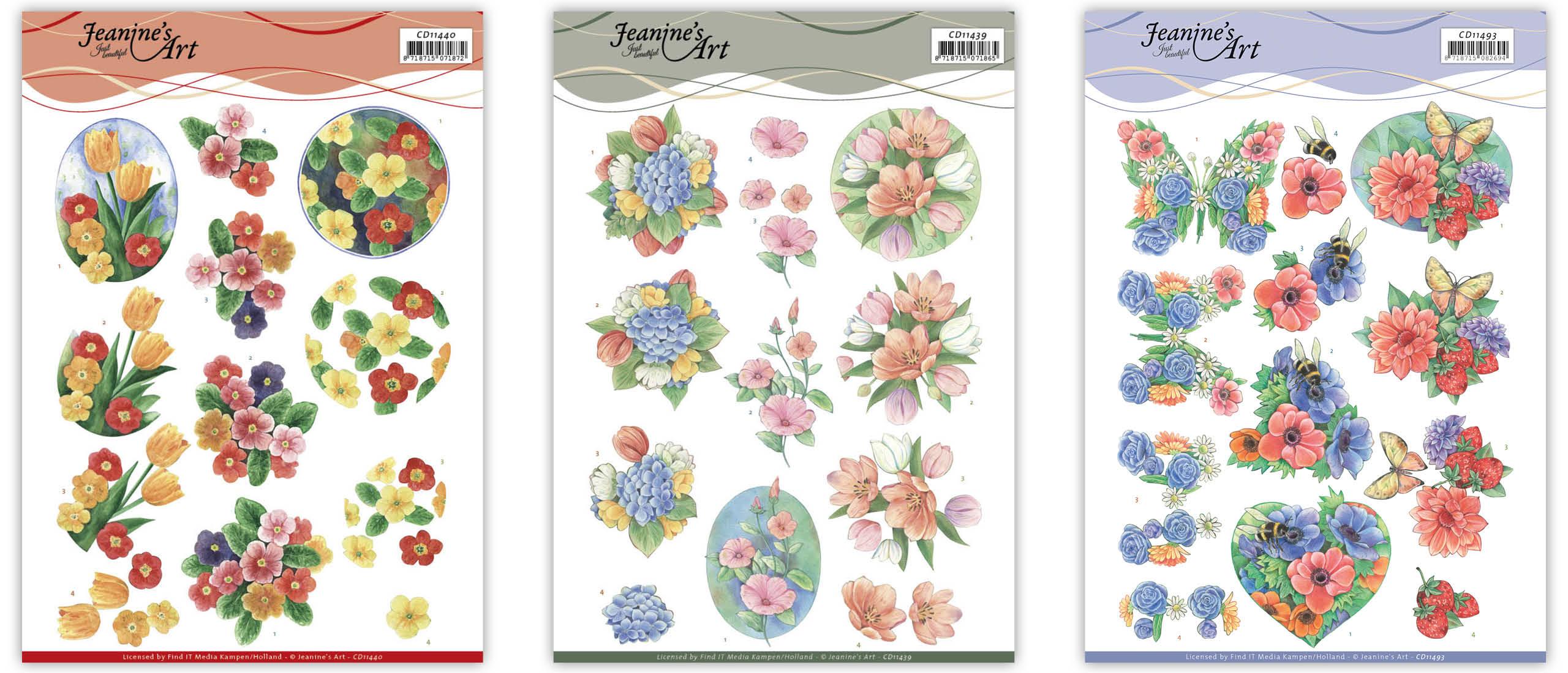 3D Cutting Sheets van Jeanine's Art: Summer flowers, Aquarel  Spring flowers, Tulips