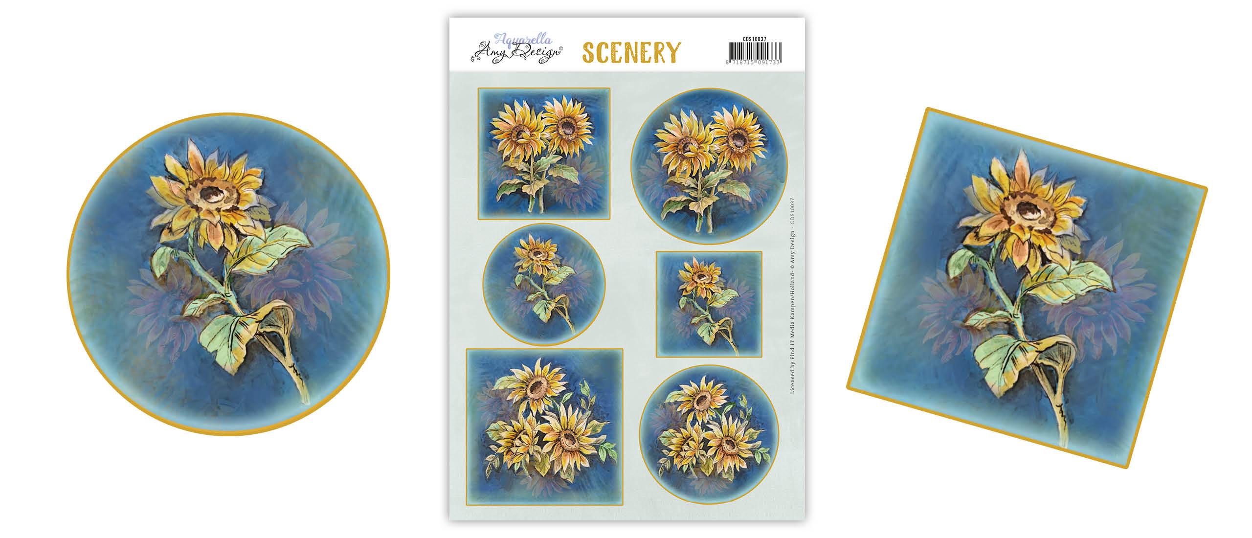 Scenery met zonnebloemen van Amy Design