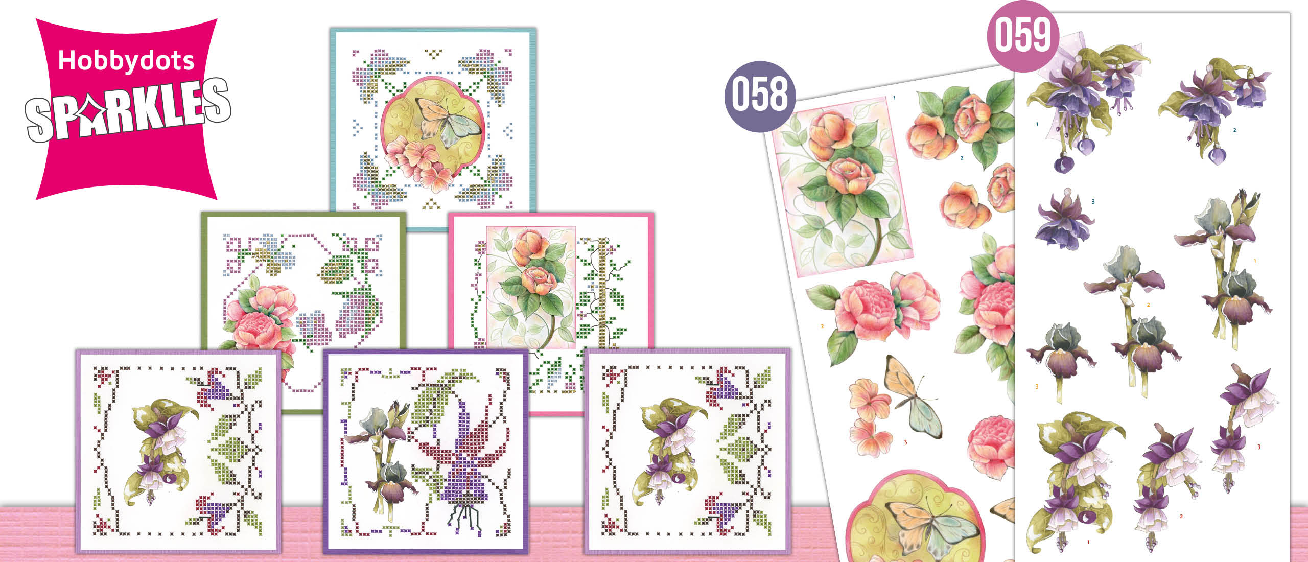 Sparkles Set 58 en 59 Jeanine's Art - Sweetheart Pink en Precious Marieke - Purple Flowers