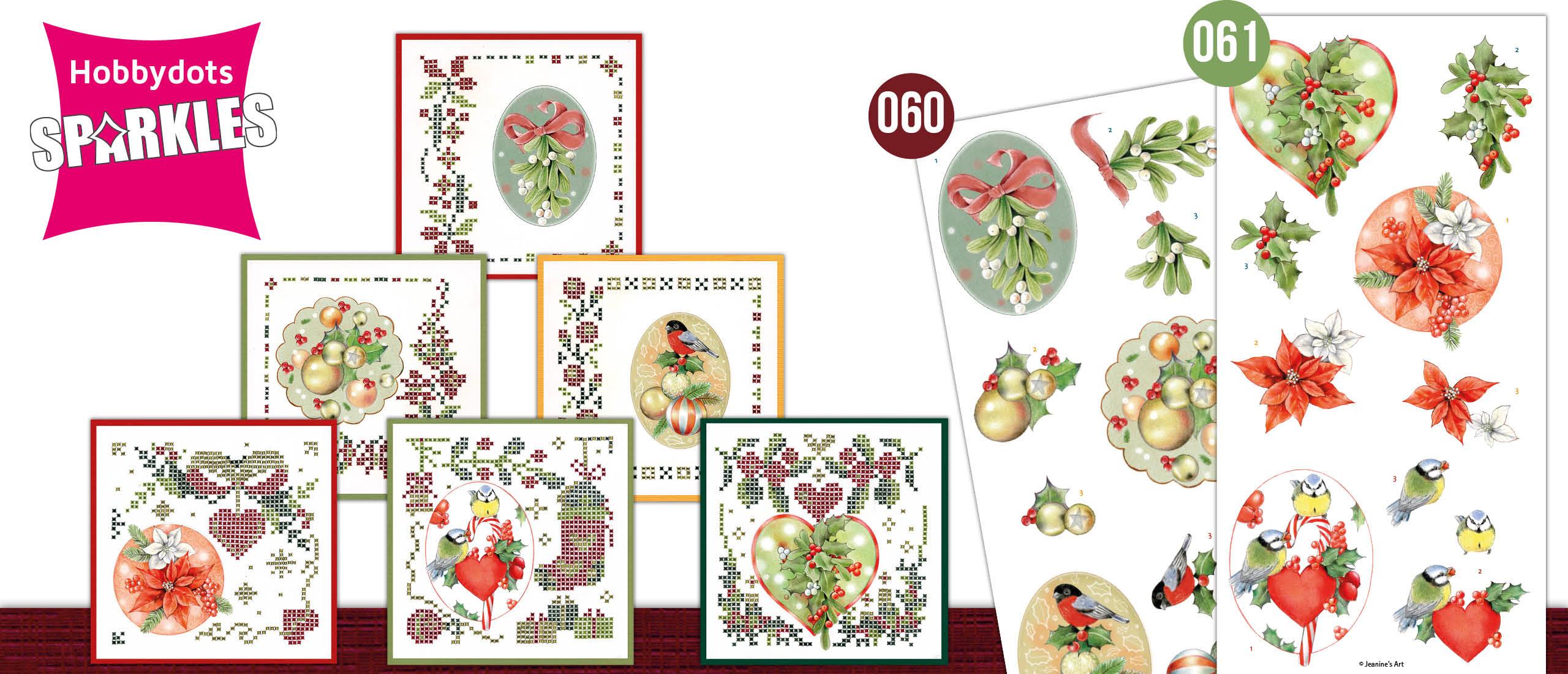 Sparkles Set 60 en 61 Jeanine's Art: Kerstballen en rode bessen