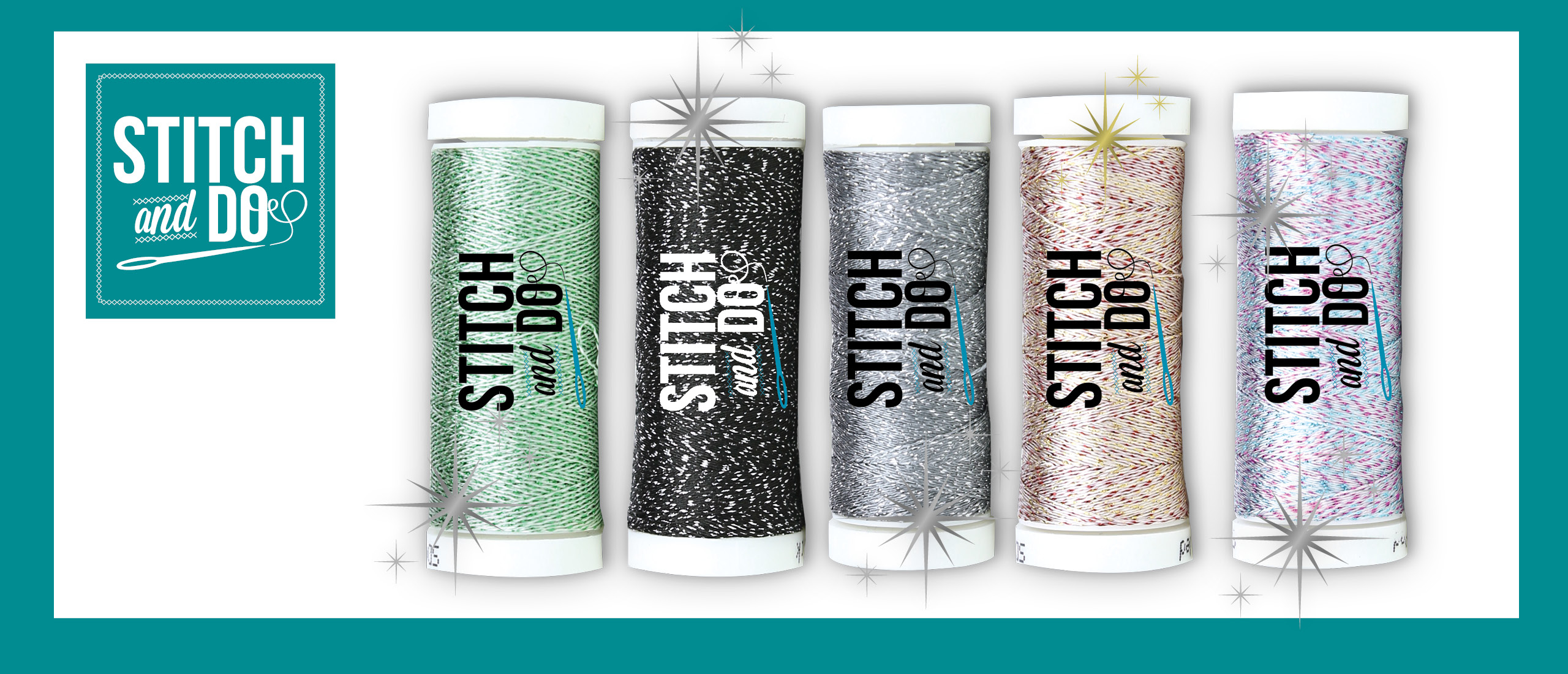 🆕 Stitch & Do Sparkles Embroidery Thread: Black, Multicolor Blue, Multicolor Red, Silver-Green, Steel