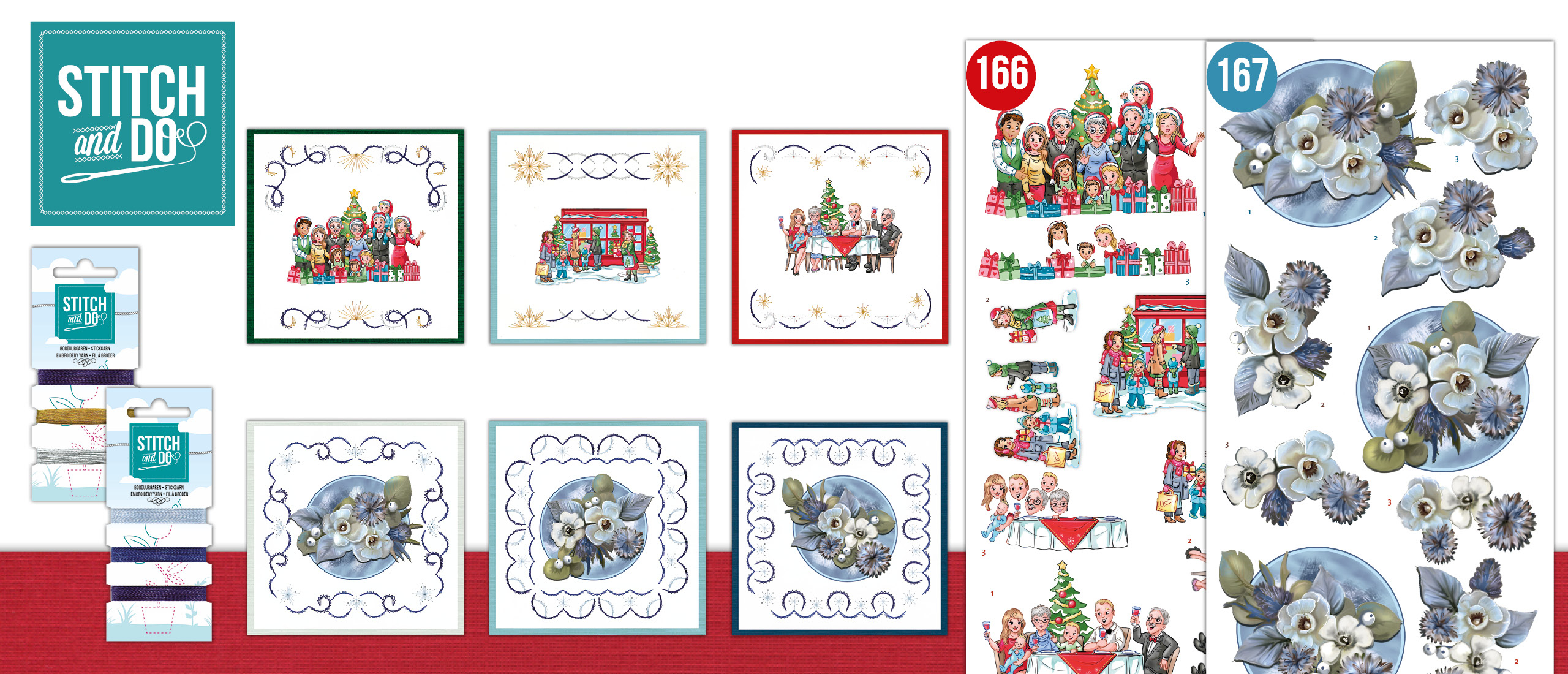 Stitch and Do Set 166 + 167 The Heart of Christmas - Shopping + Awesome Winter - Winter Flowers