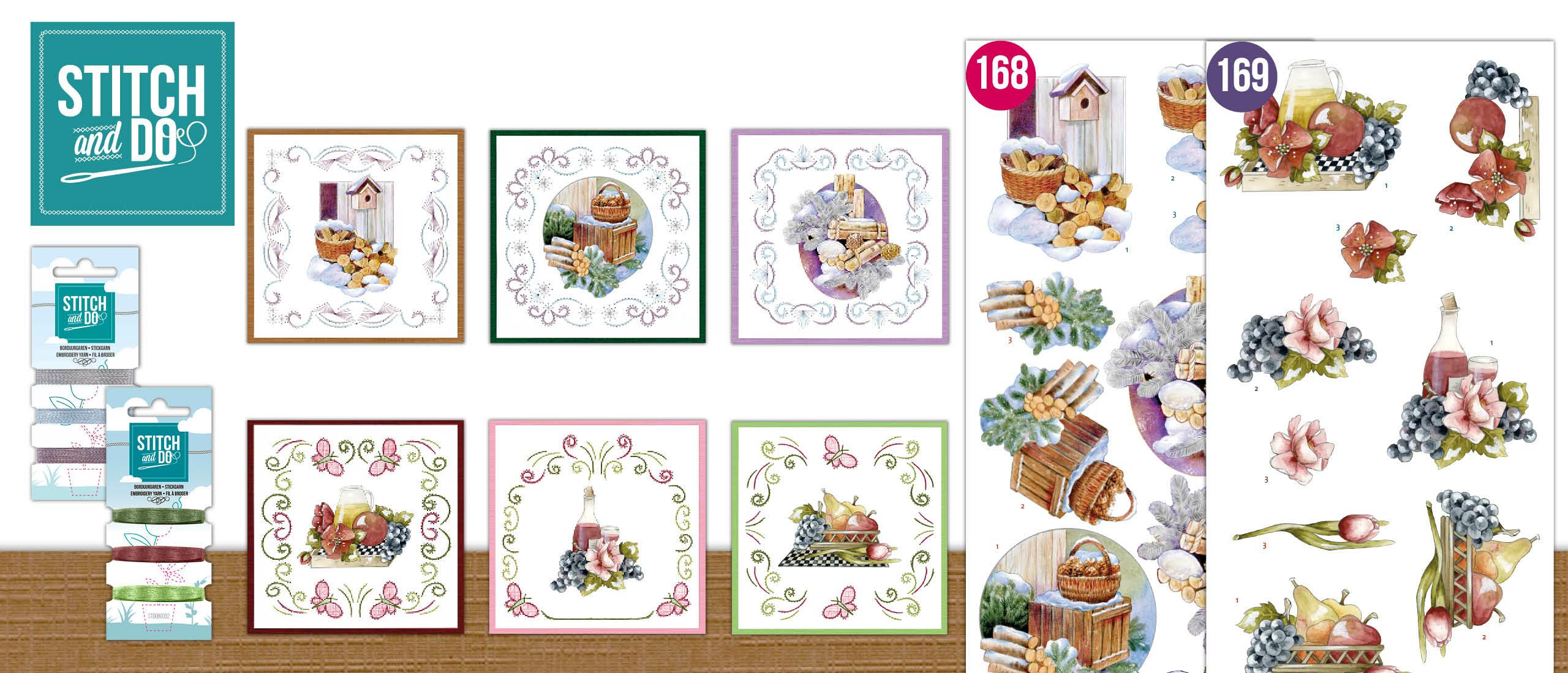Stitch and Do - Jeanine's Art - Winter Charme - Wood en Precious Marieke - Flowers and Fruits - Flowers and Grapes (STDO168 -STDO169)