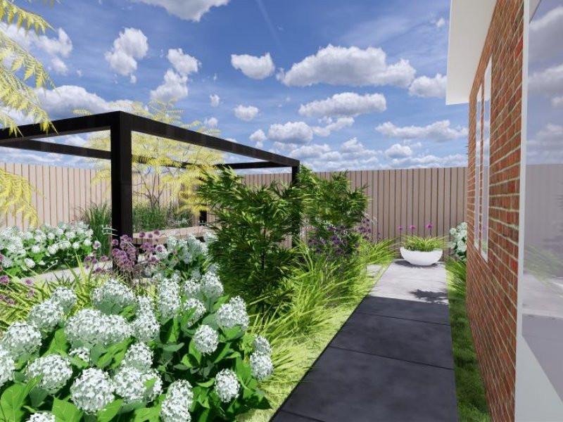 ontwerp tuin op het zuidwesten