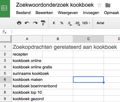 google doc zoekwoorden
