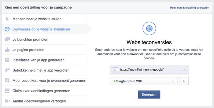 Conversie optimalisatie Facebook