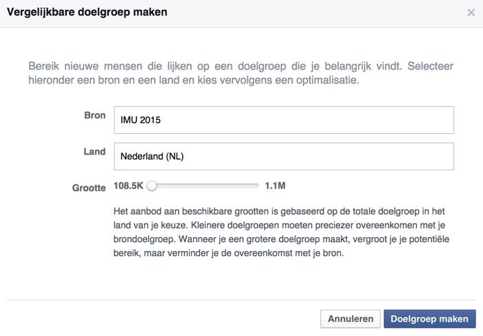 Vergelijkbare doelgroep op Facebook