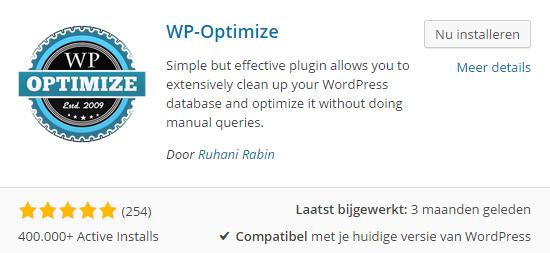 wp-optimize installeren
