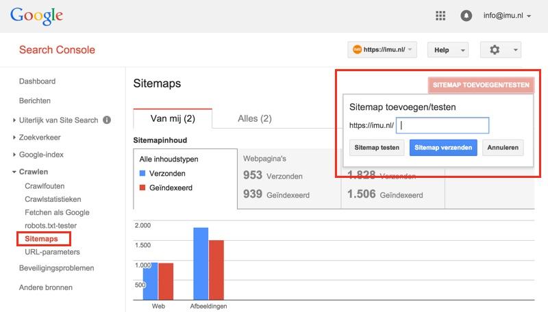 Sitemap toevoegen in Webmastertools