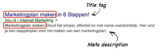 Title tag en meta description in Google