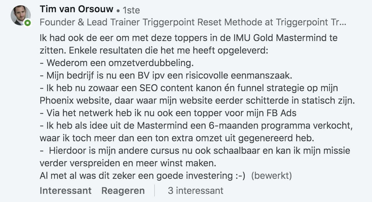 Mastermind ervaring Tim van Orsouw