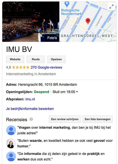 Voorbeeld van onze Google Mijn Bedrijf pagina
