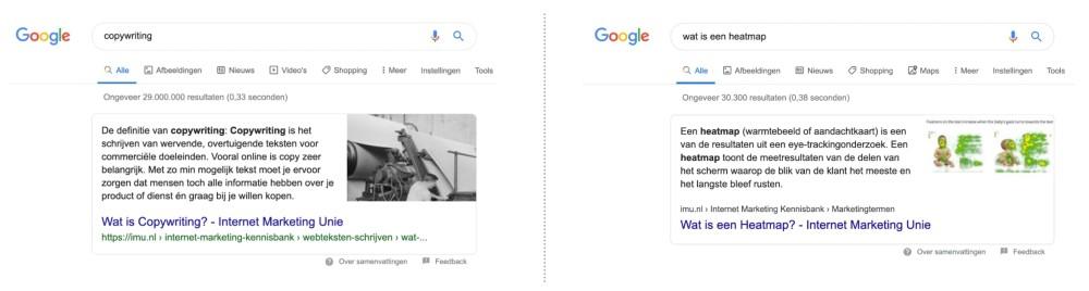 Antwoorden in Google