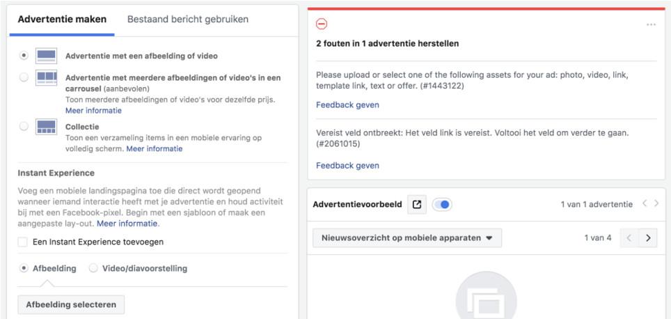 Facebook advertentie opmaken