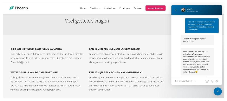 FAQ en Livechat op website