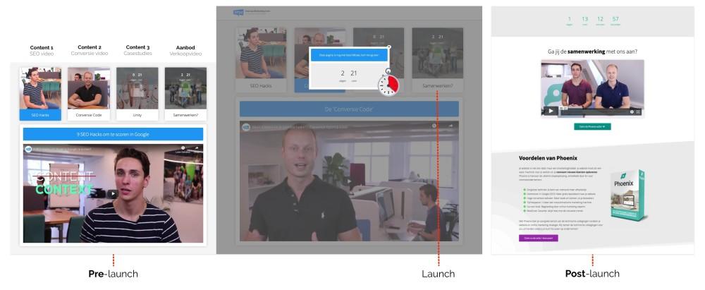 Productlanceringen module in website (timed content)