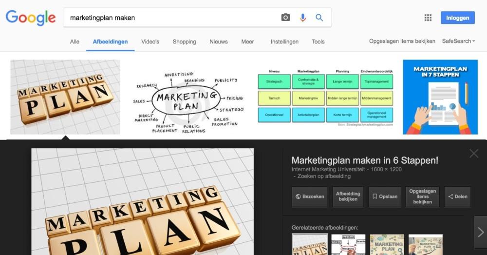 Scoren in Google afbeeldingen
