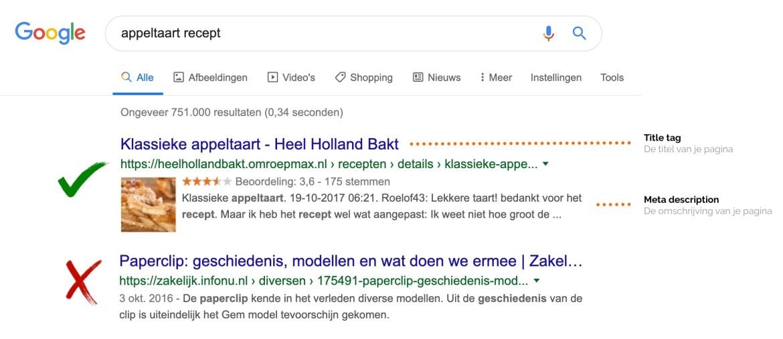 SEO resultaat in Google