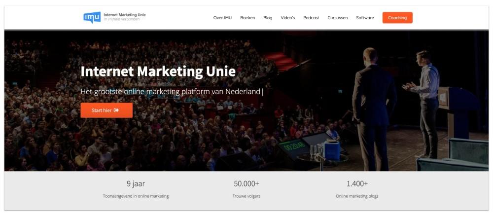 USP op de homepage van de IMU