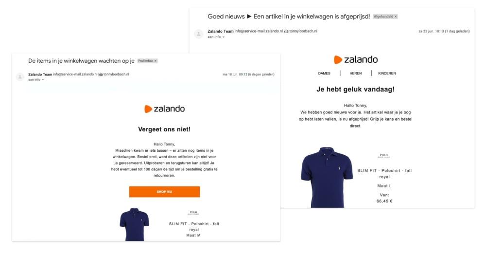 Zalando volgt verlaten winkelmandje op