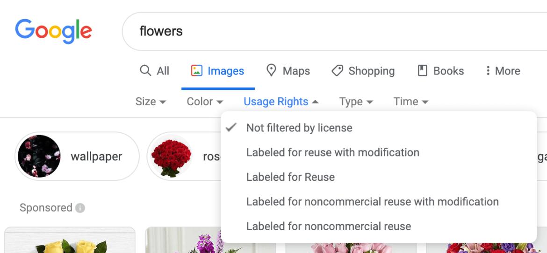 Oude Google gebruikersrechten voor afbeeldingen