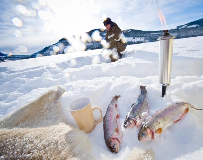 Verse vis tijdens ijsvissen, Noorwegen