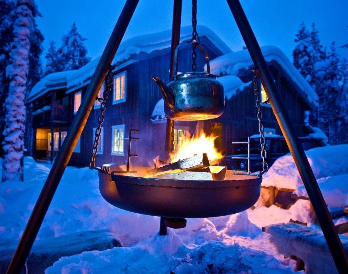 Vuur buiten bij Herangtunet, Noorwegen