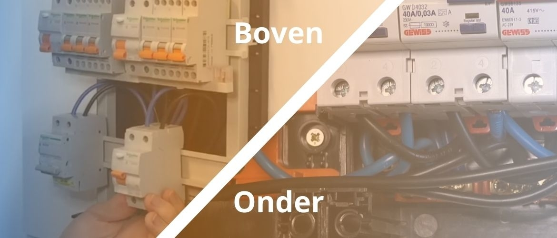 Groepenkast componenten aansluiten van boven, onder of kan het beide?