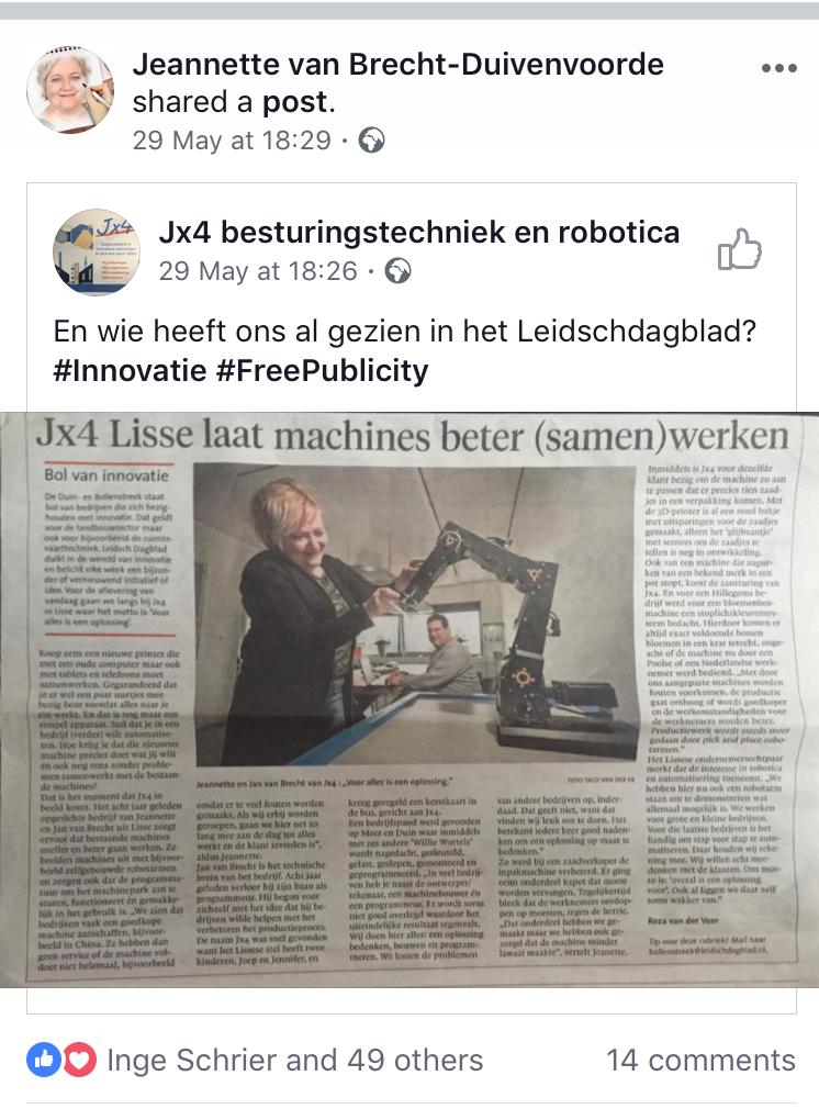 Hoe kom je als ondernemer gratis in de krant? Jx4 besturingstechniek en robotica Jeannette van Brecht-Duivenvoorde Leidsch dagblad Jennifer Delano Free Publicity PR In de media