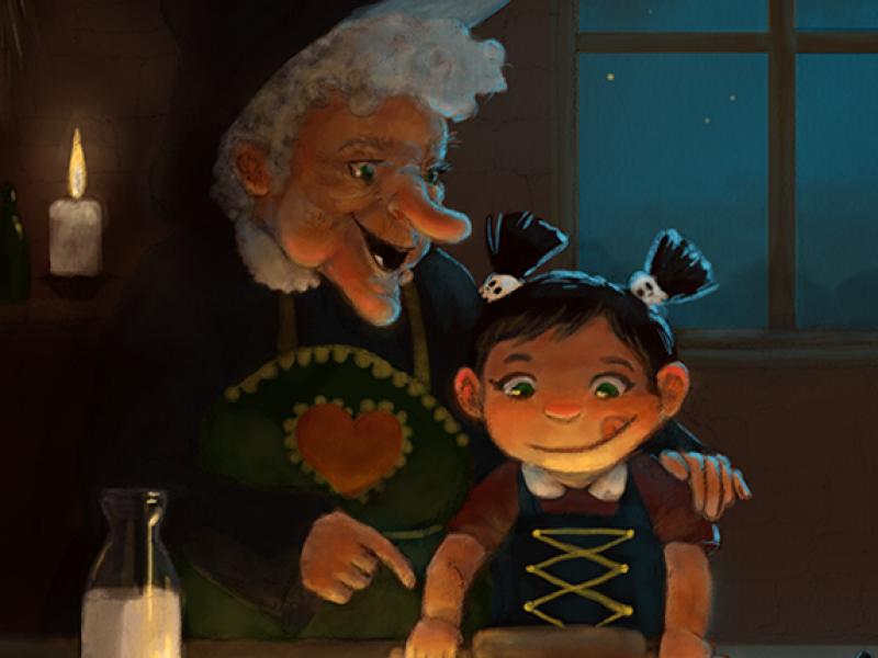Baking with grandma illustration