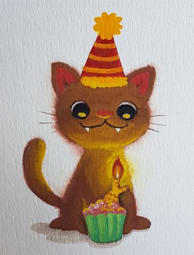 Birthday cat gouache painting