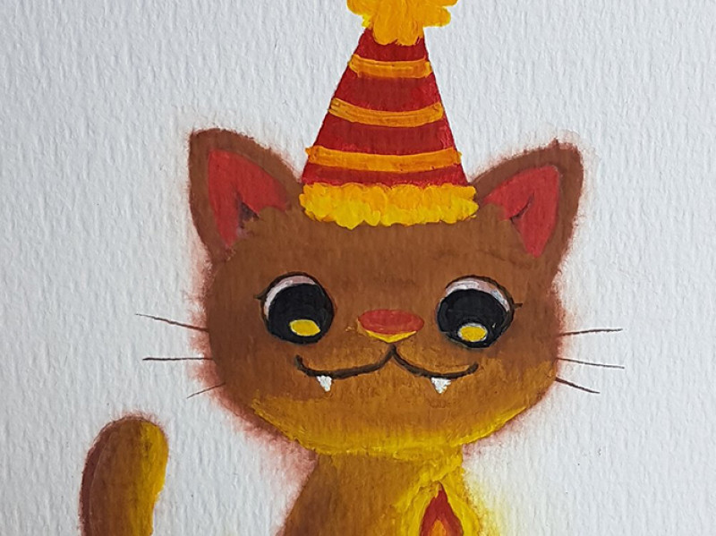 Birthday cat gouache painting